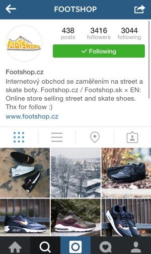 Internetový obchod s teniskami-Footshop na Instagrame