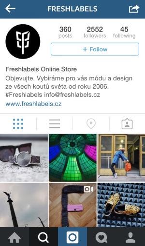 Obchod s oblečením Freshlabels na Instagrame