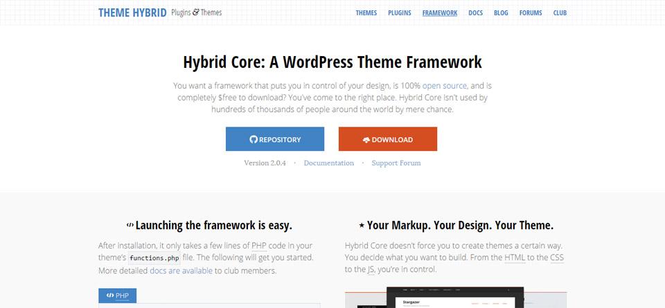 Hybrid Core WordPress theme framework
