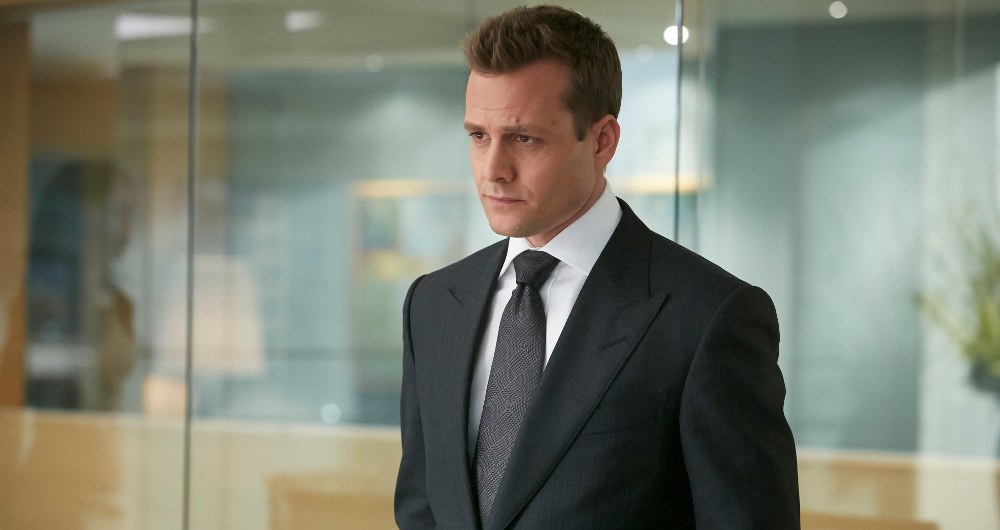 "SUITS -- ""One-Two-Three-Go..."" Episode 401 -- Pictured: Gabriel Macht as Harvey Specter -- (Photo by: Ian Watson/USA Network)"
