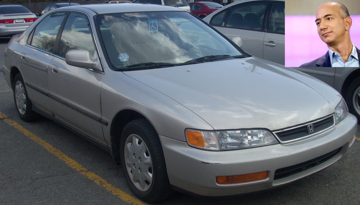 Amazon CEO Jeff Bezos still drives his 1996 Honda Accord. That model today costs around $4,000.