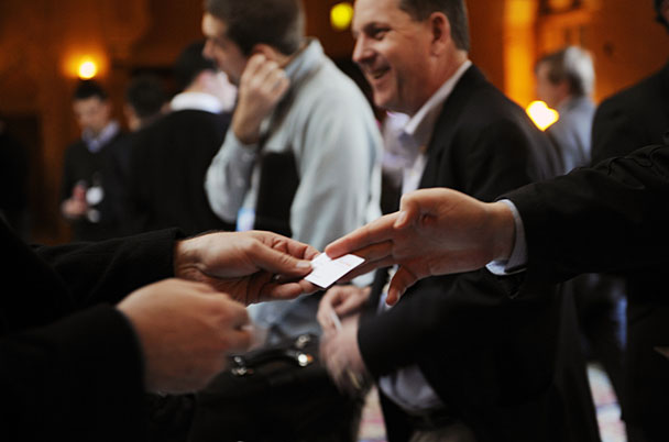 100217 Atlanta--Business cards are exchanged regularly at the Fox Theater today as 50 local entrepreneurs make their rapid-fire pitches to potential investors during Startup Riot 2010 in Atlanta, Ga Wednesday, Feb 16, 2010. Elissa Eubanks, eeubanks@ajc.com