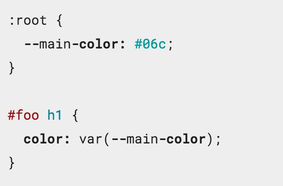 Príklad deklarácie a inicializácie CSS premennej main-color a jej použidie