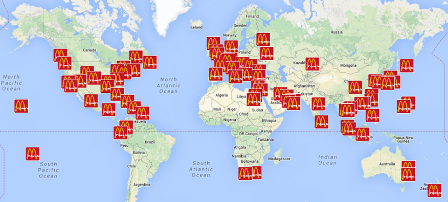 Mapa všetkých MCDonald's-ov, ktoré navštívil