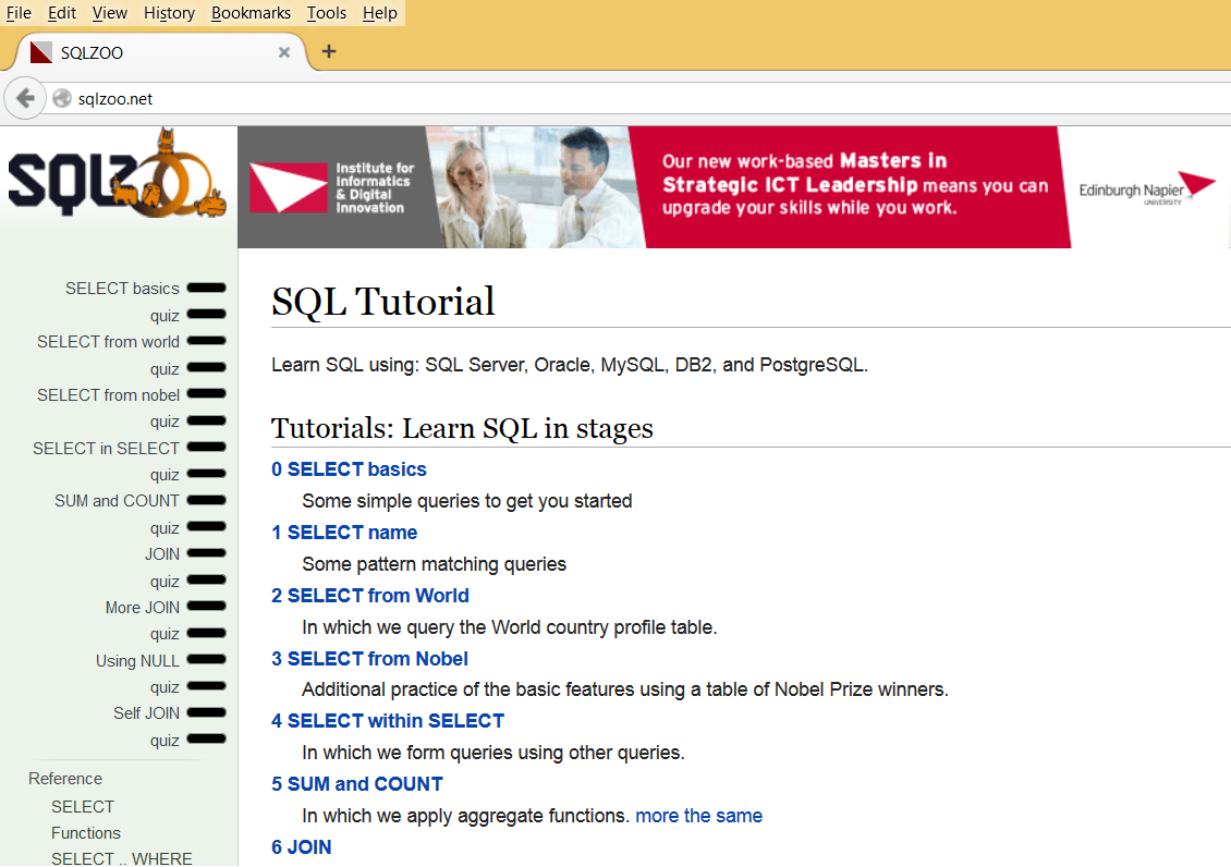SQLZoo - Website to Learn SQL Online for FREE