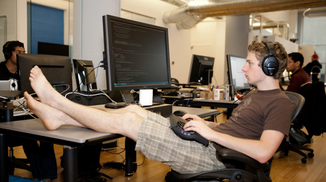Anders Papitto works comfortably at the MemSQL office in San Francisco.