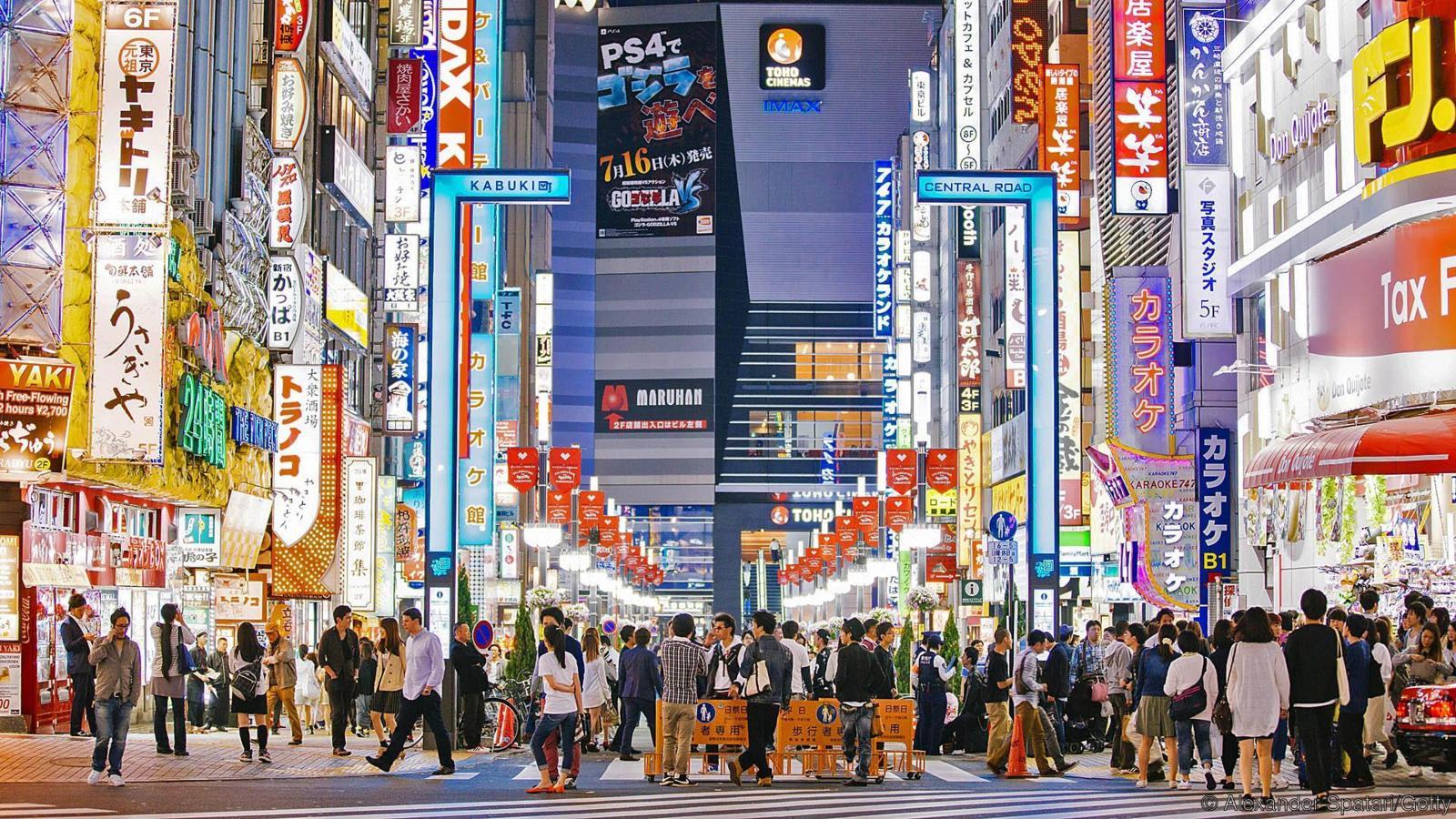 Bright neon lights in Shinjuku, Tokyo, Japan
