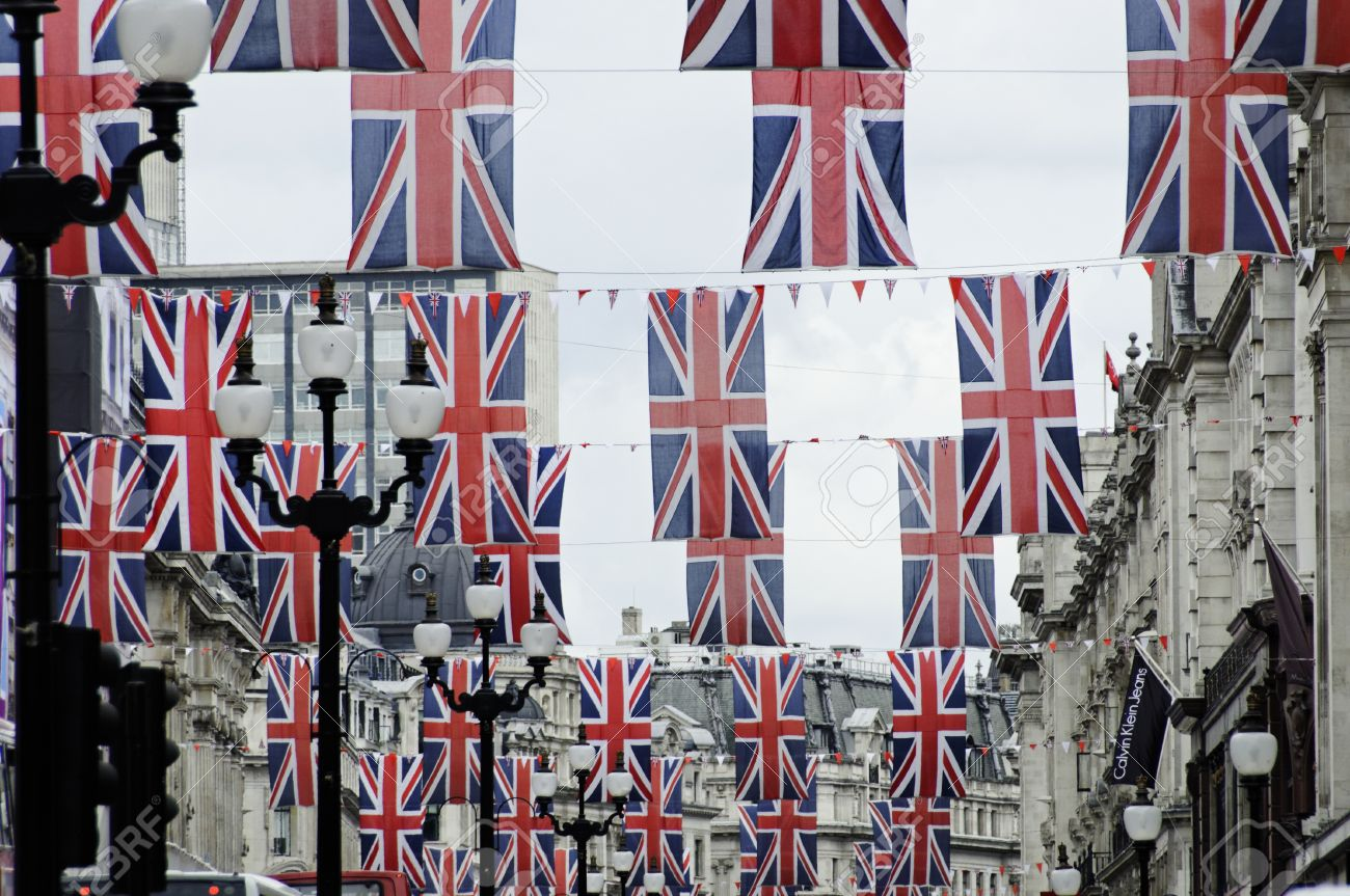 13893176-LONDON-UK-Friday-June-1-2012-Regent-Street-is-decorated-with-Union-Jack-flags-to-celebrate-the-Queen-Stock-Photo