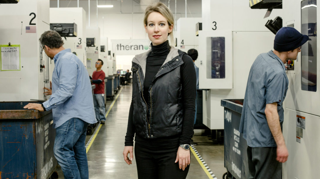 Elizabeth Holmes, the chief executive of Theranos, at the embattled blood-testing company's labs in Newark, Calif.