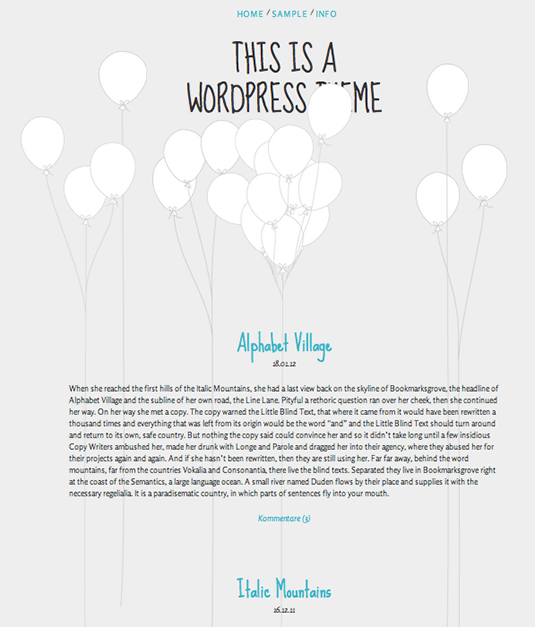 Free WordPress themes: Balloons