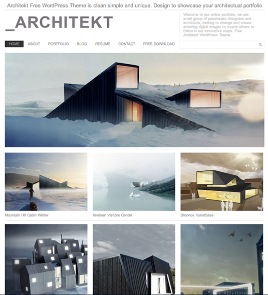Free WordPress themes: Architekt