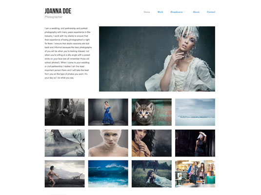 The image grid shows visitors your work with no clicking or scrolling