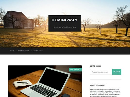 Classic blog template with large text