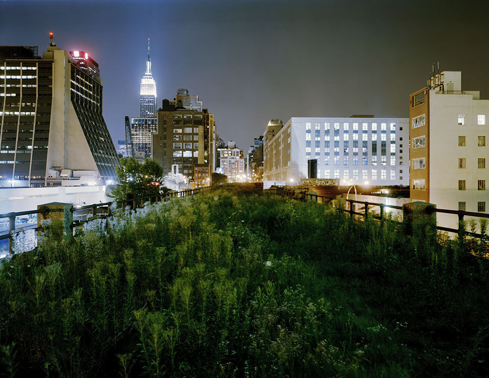 The future site of the Highline in New York City, which would grow to be a 1.45 mile long park built on an elevated section of rail line. Funded largely by private donations, some of them reaching into the tens of millions of dollars, the park is now a beloved fixture of the city. 2004-05 Jesse Chehak