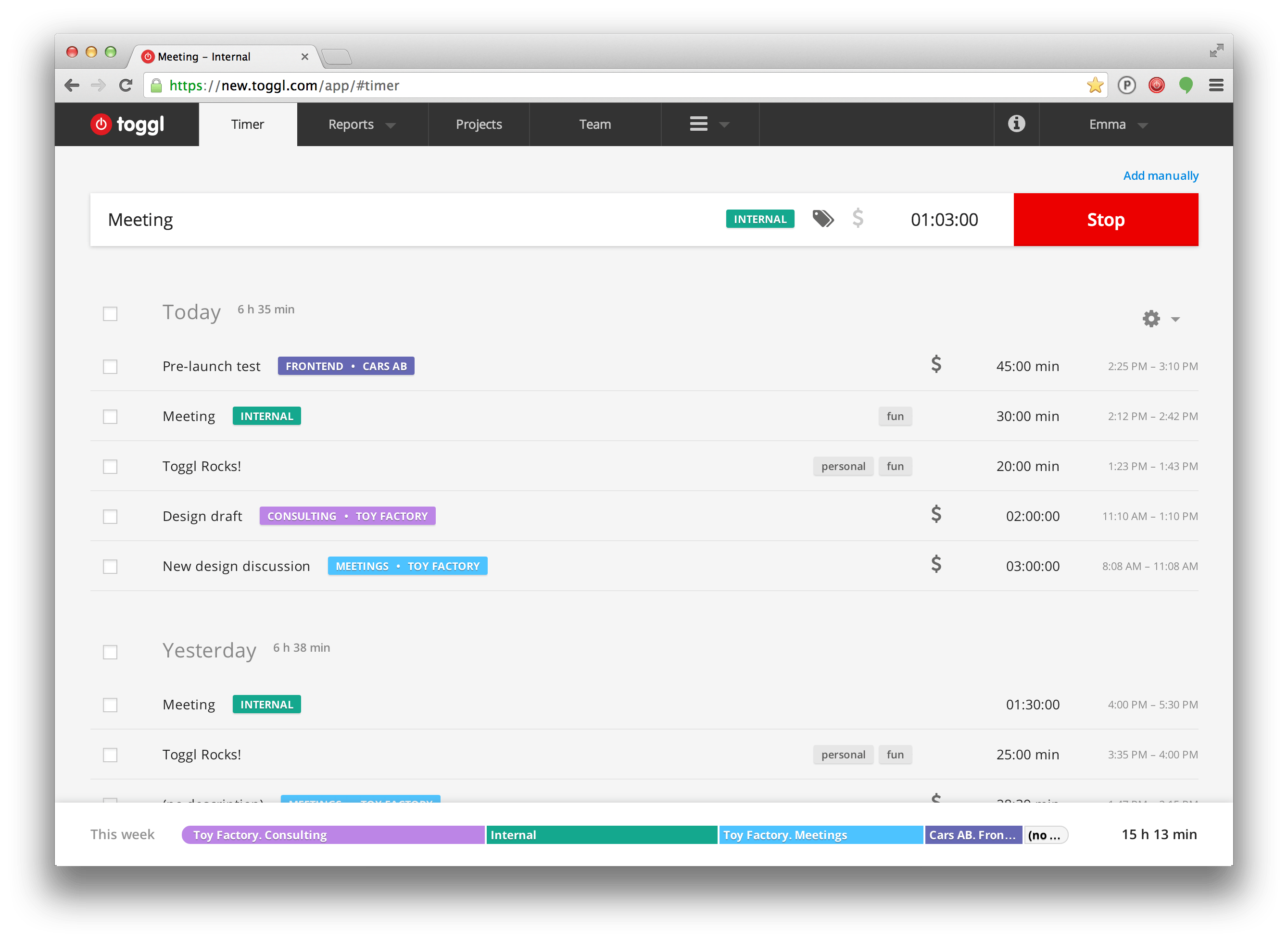 Toggl-productivity-web-app-timer-page