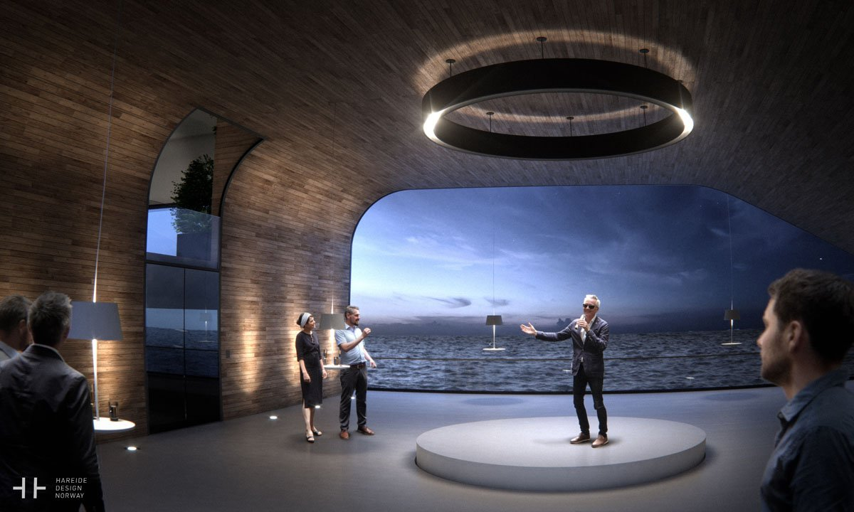 Inside, the Grand Hall provides a multiuse space. Its clear glass wall provides fantastic views of the surrounding sea.