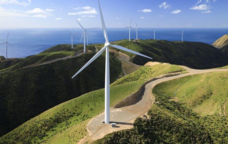 Luftaufnahme Windkraftanlagen in Neuseeland West Wind Project