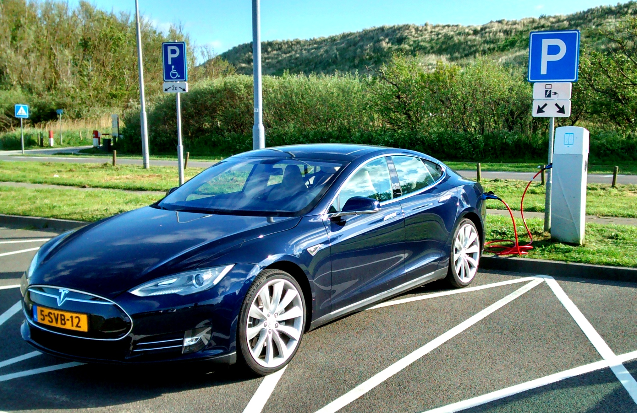 blue_tesla_model_s_zoutelande_dunes_holland