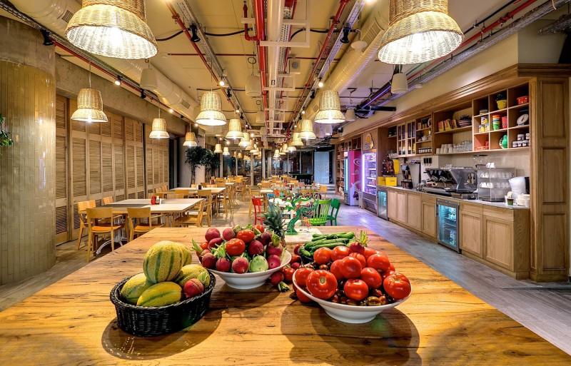 rattan-lamp-shade-wood-table-google-tel-aviv-office