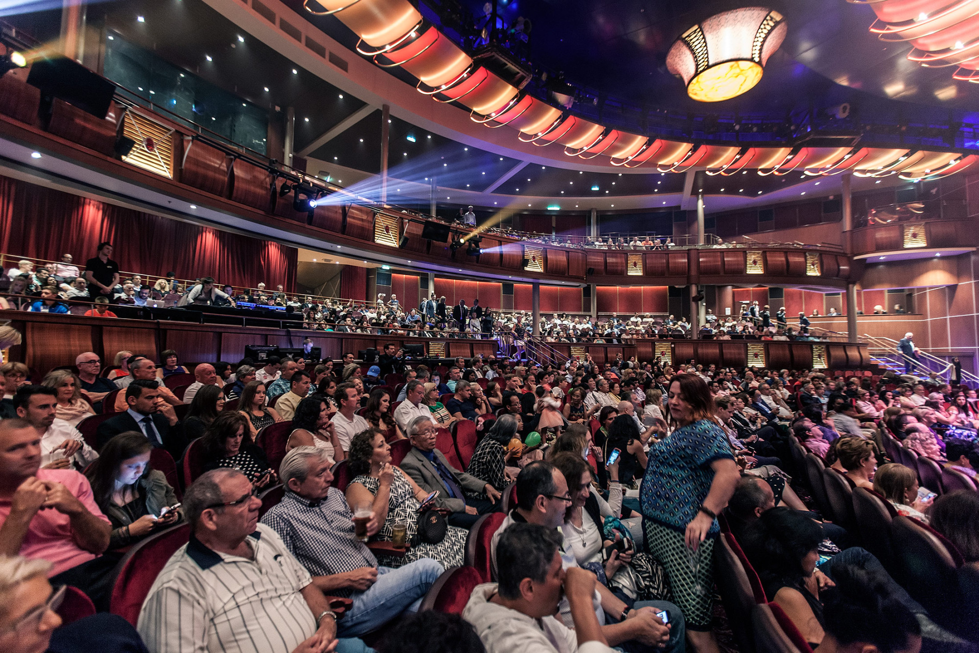 Royal Caribbean, Harmony of the Seas, The Royal Theater,Harmony'smain theater and largest entertainment venue, is a state-of-the-art theater designed with the latest technology to deliver an immersive performance environment that rivals land-based theaters. Seating 1,380 guests