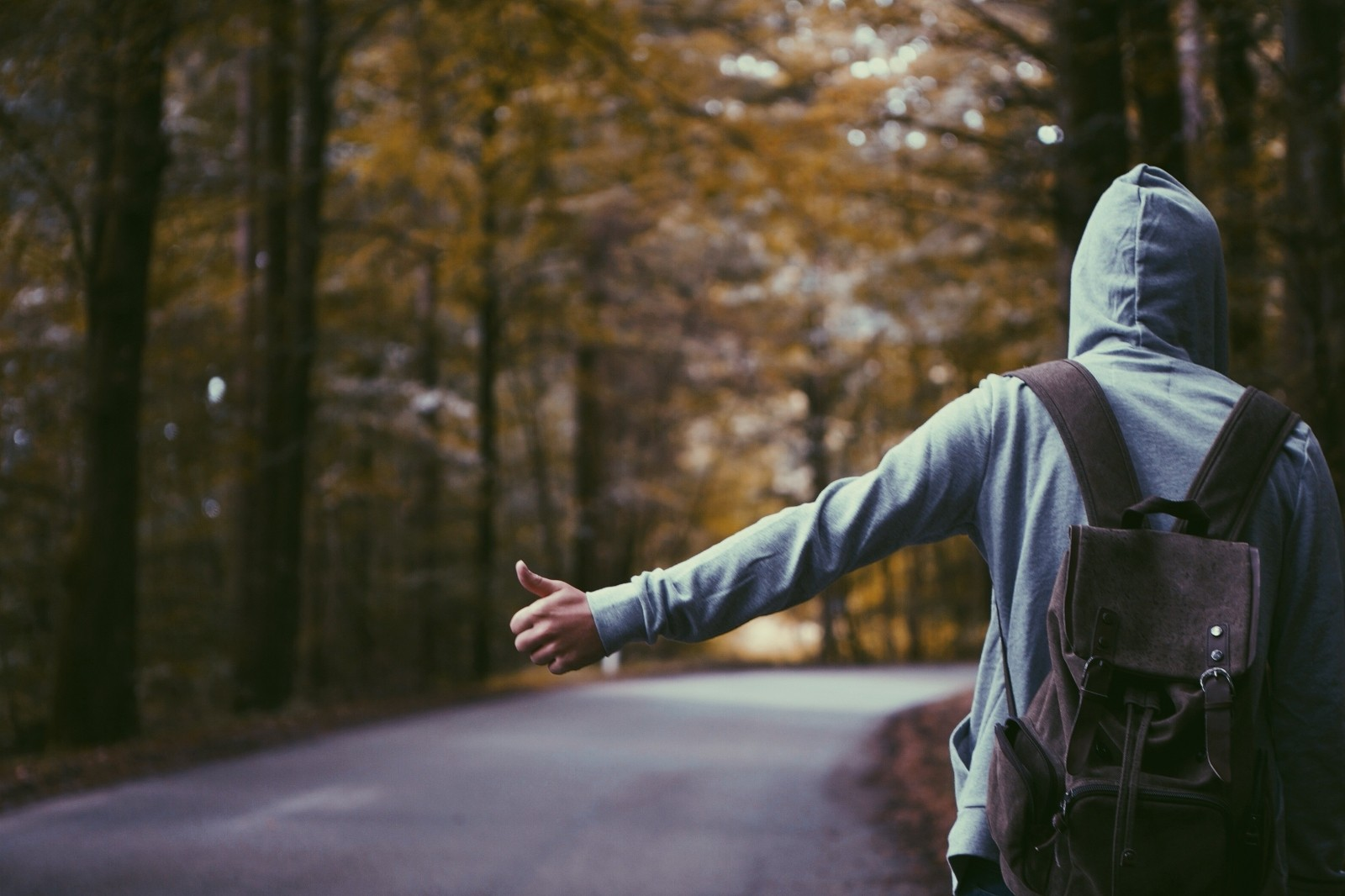 hitch-hiker-wearing-hood-on-road-in-forest