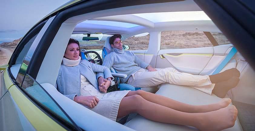 interiér autonómneho vozidlamobilu