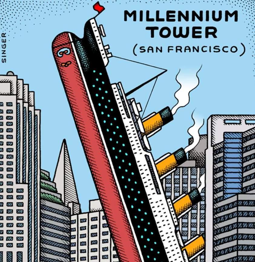 vtipná ilustrácia o mrakodrape