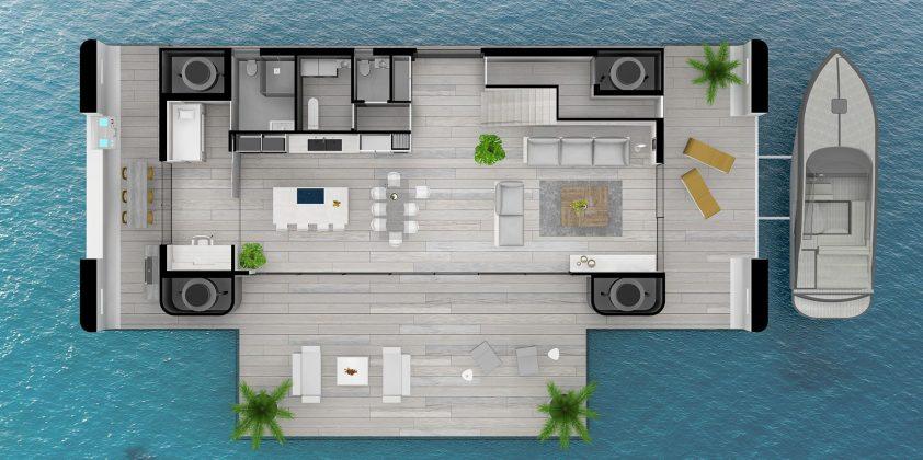 rozvrhnutie plávajúceho domu