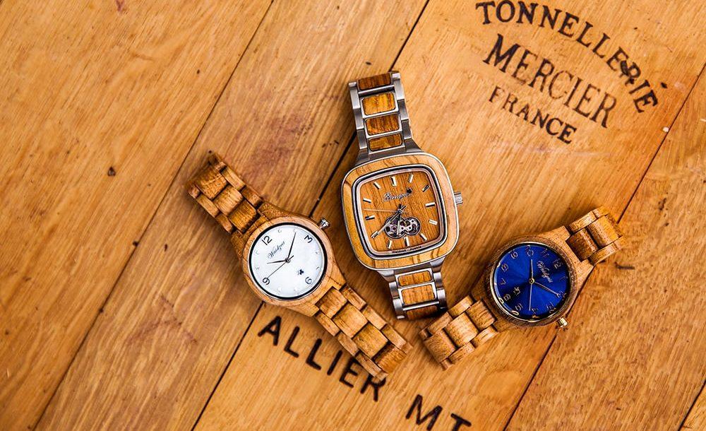 drevene hodinky z vinoveho sudu