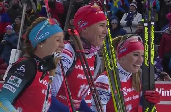 Anastasia Kuzmina (v strede), Paulína Fialková (vpravo)