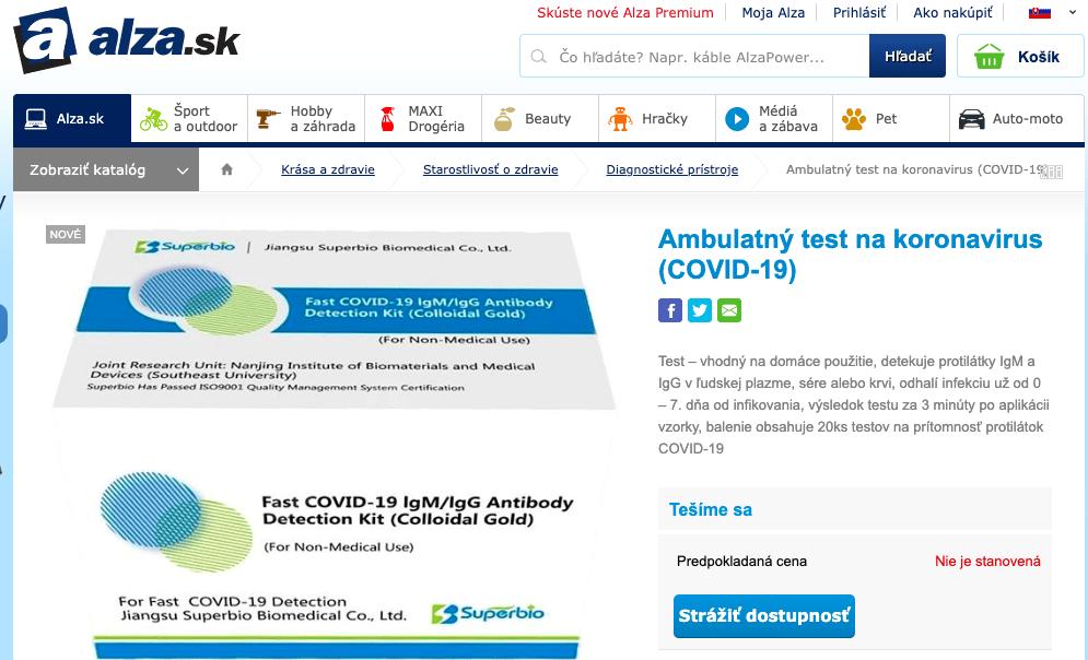 E-shop Alza.sk ponúka domáci test na koronavírus, objednať sa zatiaľ nedá