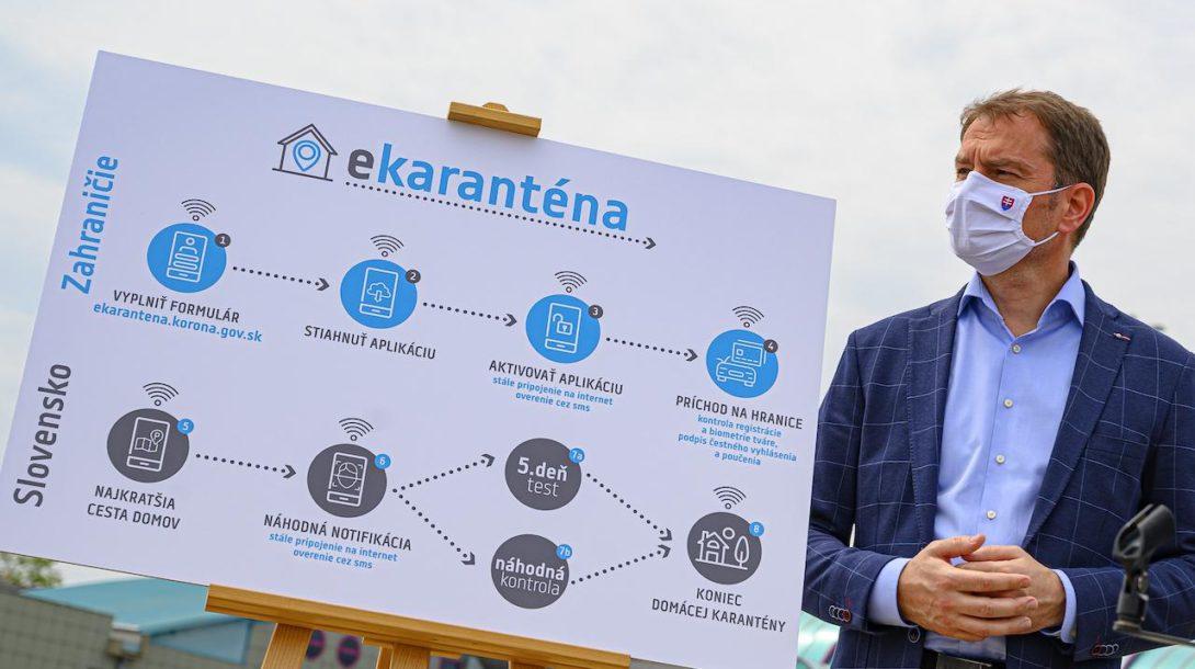 Na snímke predseda vlády SR Igor Matovič počas brífingu na tému:  Smart karanténa - inteligentné riešenie pre ľahší návrat zo zahraničia na diaľničnom hraničnom priechode Bratislava - Jarovce 19. mája 2020.