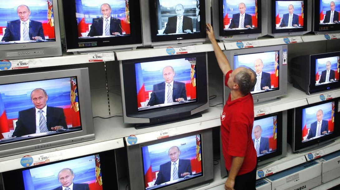 Putin, Rusko, televízor