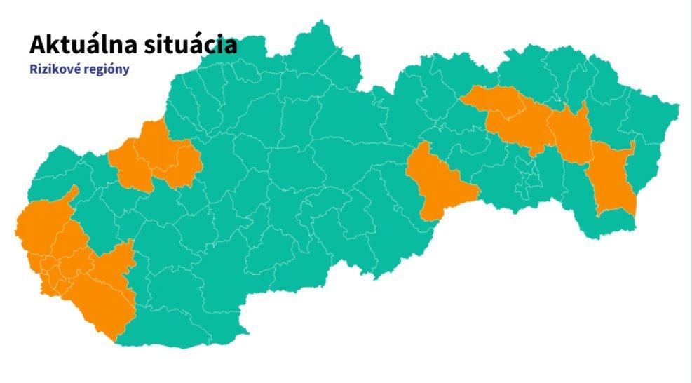 mapa rizikových regiónov na Slovensku