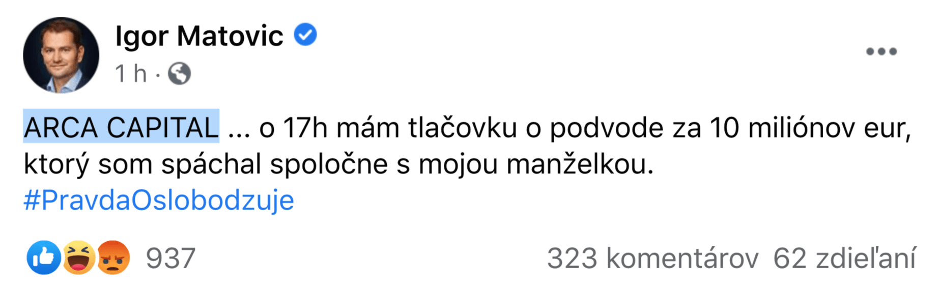 Screenshot Facebook Igora Matoviča