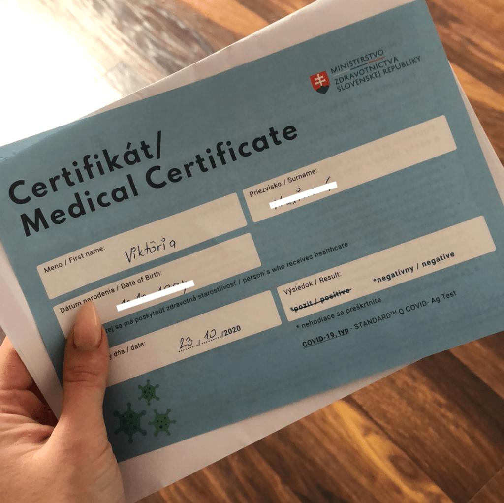 certifikát antigénový test plošné testovanie