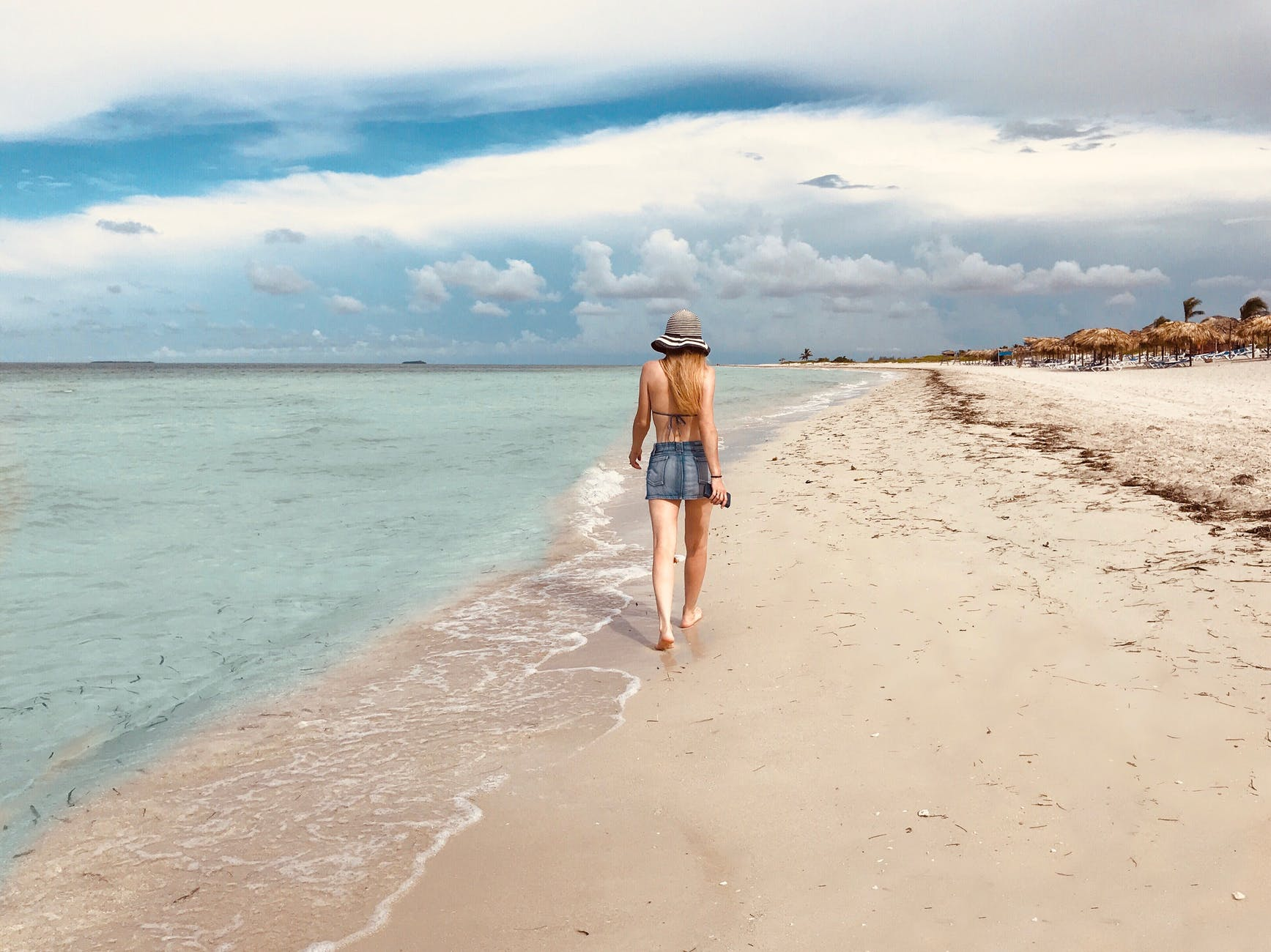 pláž, žena, dovolenka