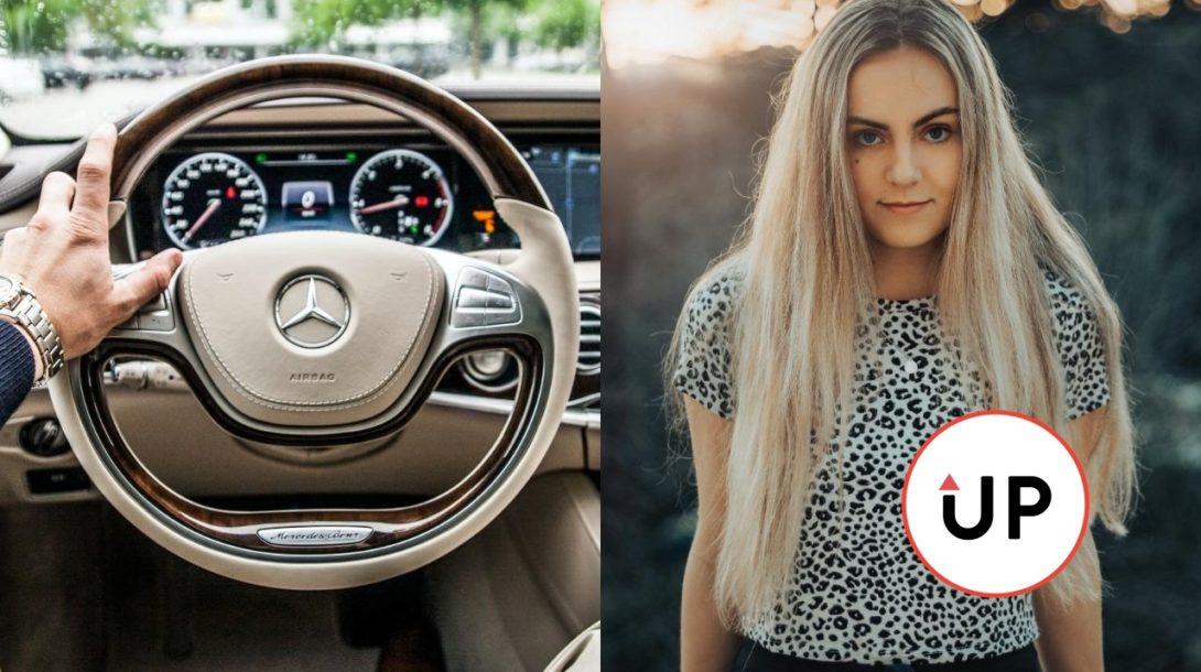 auto, žena, vodič, mercedes