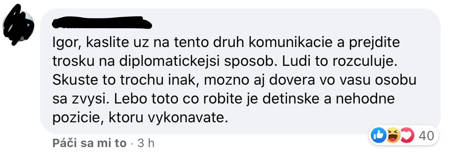 igor matovič facebook status komentár