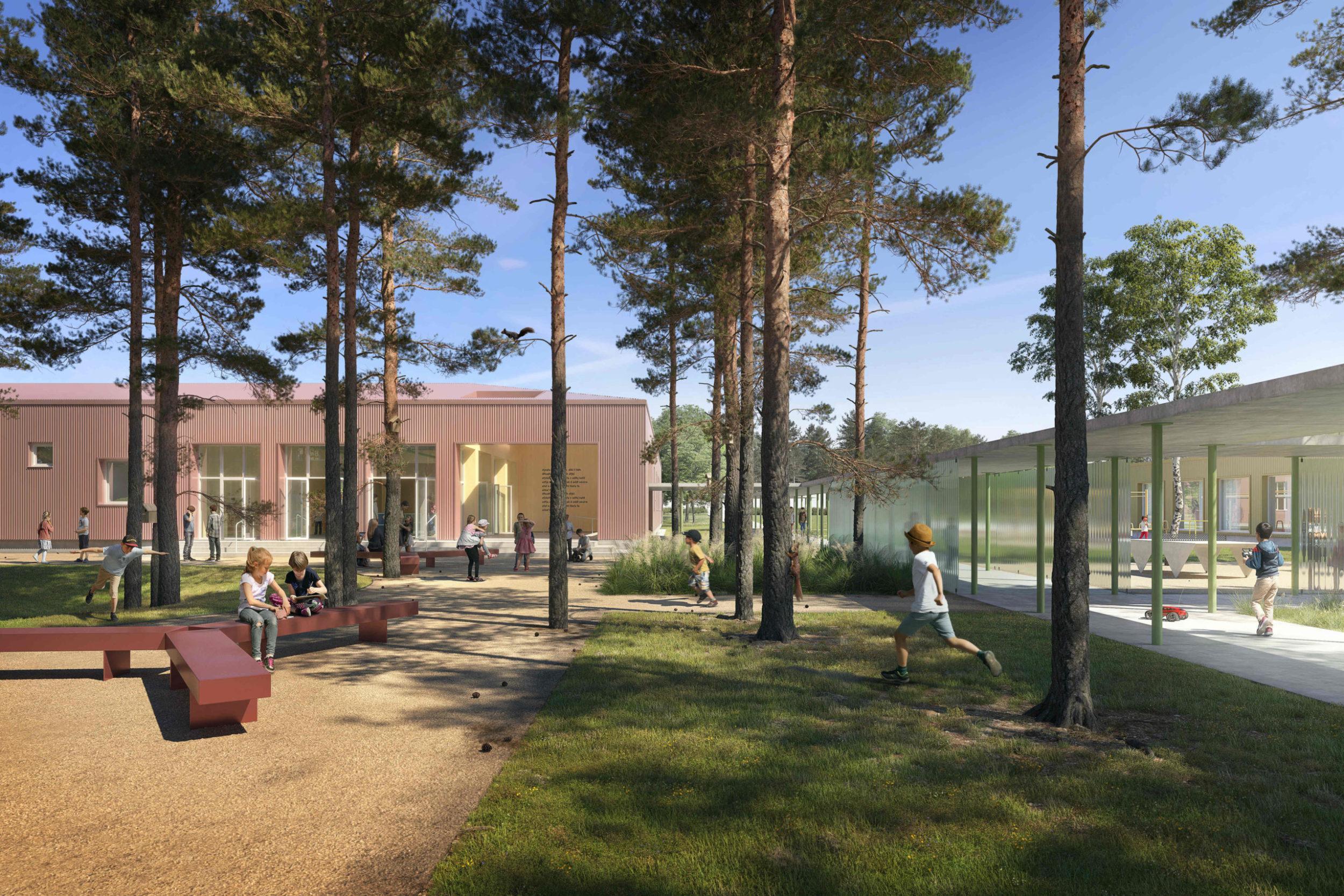 škola budova školstvo architektúra stavba design slovenské školy deti trieda jedáleň park