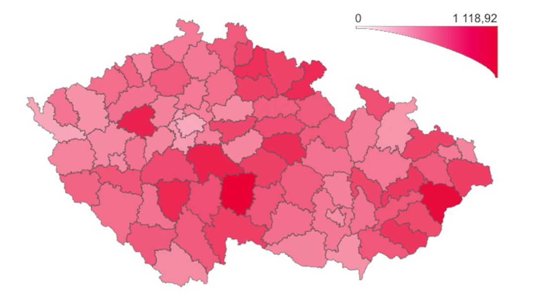 česko koronavírus mapa