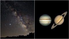 vesmír jupiter saturn nočná obloha december