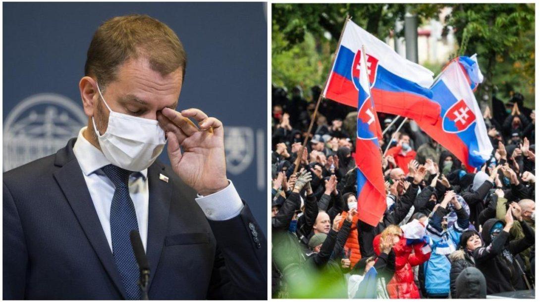 matovič, protest, vlajka, slovensko