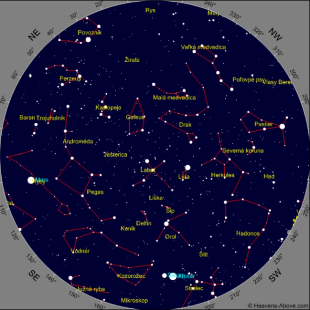 jupiter saturn vesmír december nočná obloha