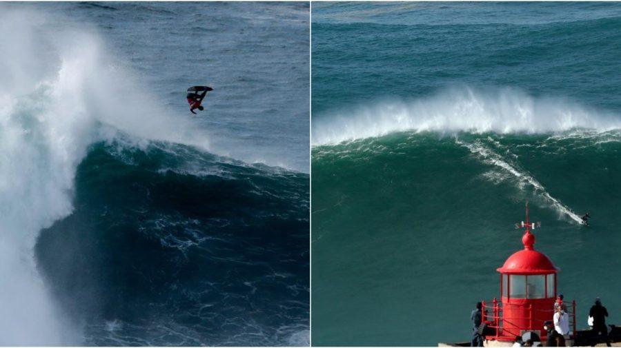 Nazaré, Portugalsko, big wave surfing, 2020