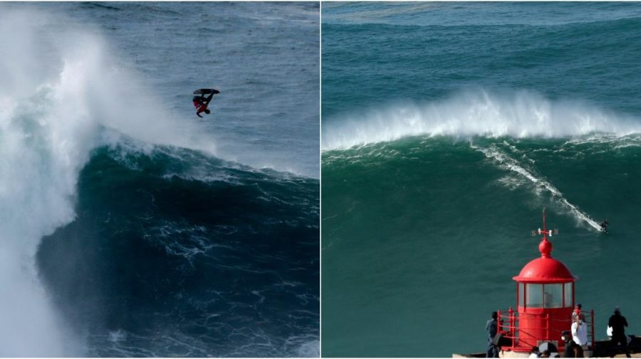 Nazaré, Portugalsko, big wave surfing, 2020