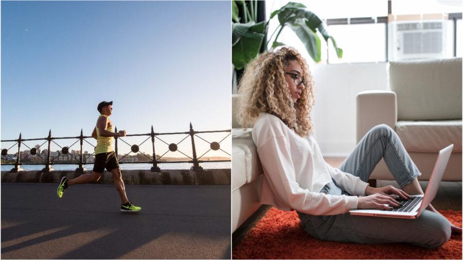 bežec žena za počítačom