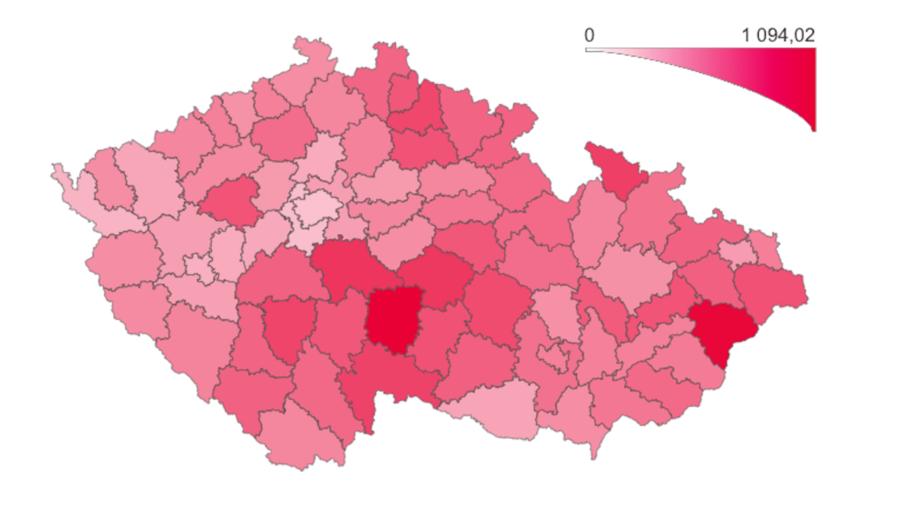 koronavírus česko mapa