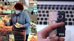 debetná karta, žena v potravinách