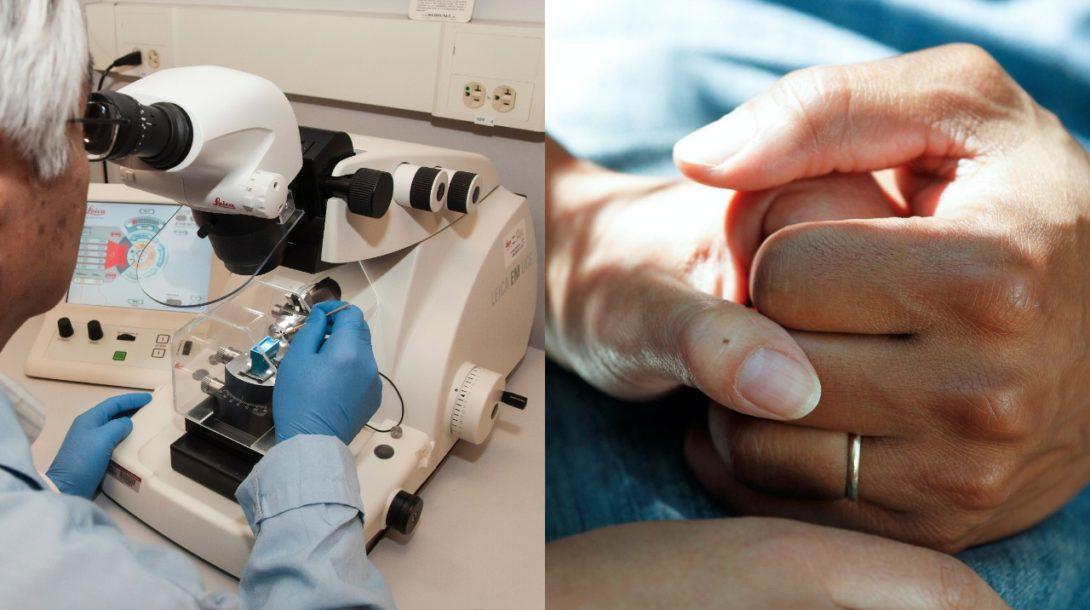 Rakovina, mikroskop, spojené ruky